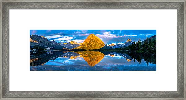 Swiftcurrent Lake Sunrise Panorama Framed Print