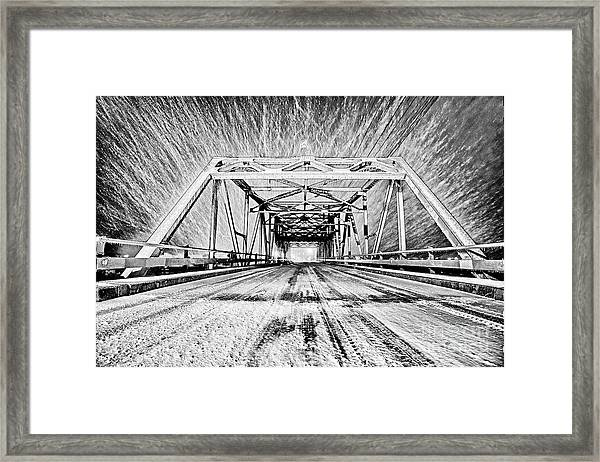 Framed Print featuring the photograph Swing Bridge Blizzard by DJA Images