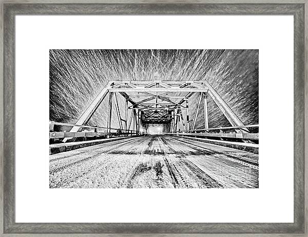 Swing Bridge Blizzard Framed Print