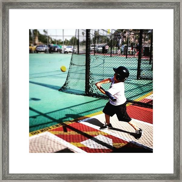Swing! #softball #baseball #battingcage Framed Print
