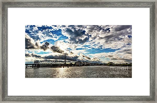 Framed Print featuring the photograph Swing Bridge Drama by DJA Images
