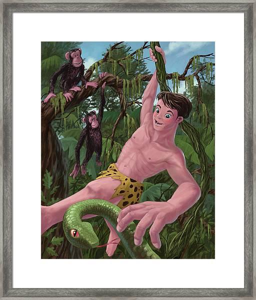 Swinging Boy Tarzan Framed Print