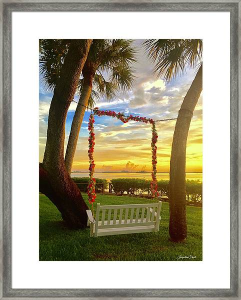Swinging In Sunset Framed Print