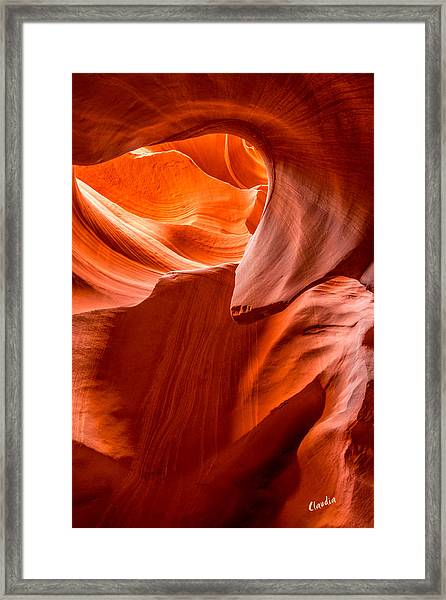 Framed Print featuring the photograph Swirls Of Rock by Claudia Abbott
