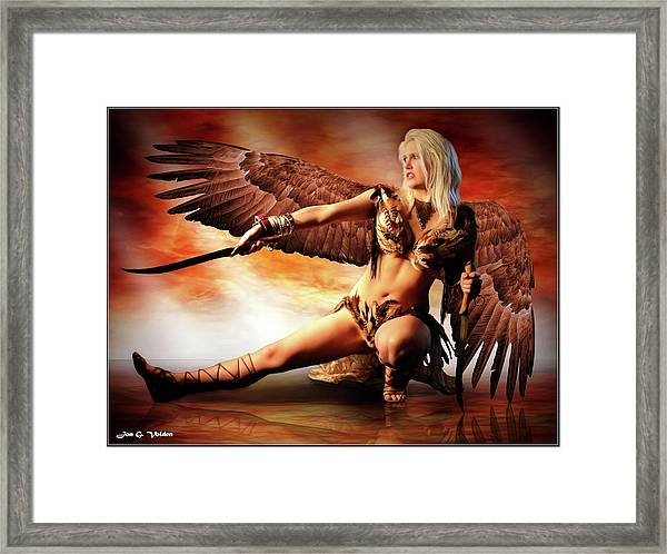 Swords Of The Hawk Woman Framed Print