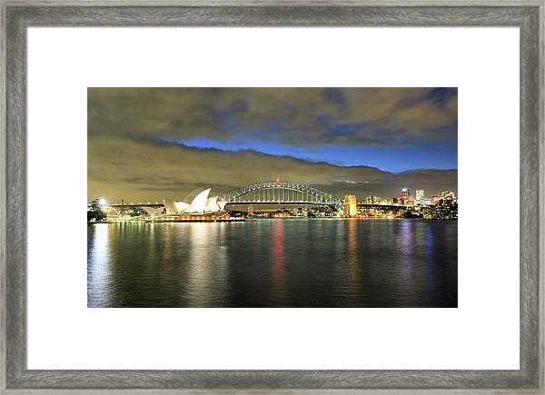 Sydney Harbor At Blue Hour Framed Print