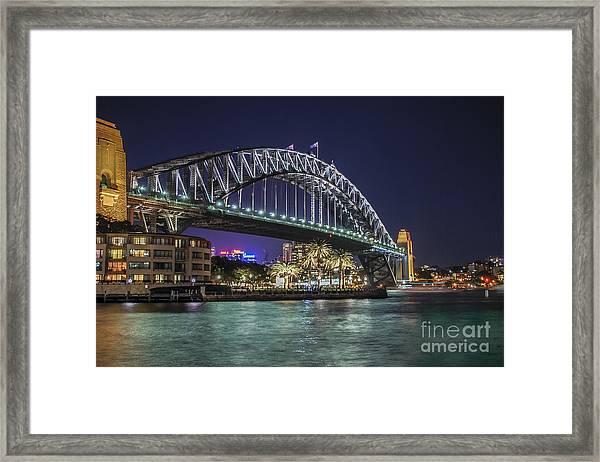Sydney Harbor Bridge At Night Framed Print