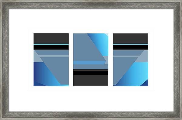 Symphony In Blue - Triptych 1 Framed Print