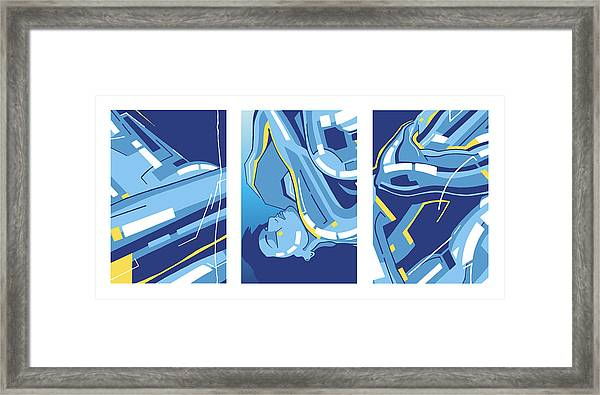 Symphony In Blue - Triptych 4 Framed Print