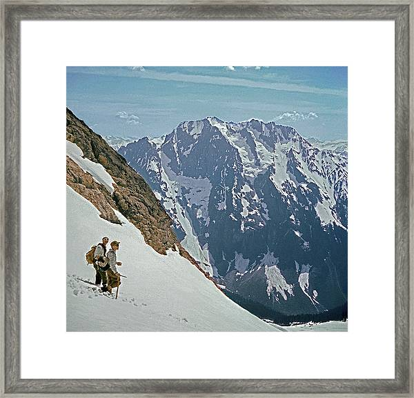T-04402 Fred Beckey And Joe Hieb After First Ascent Forbidden Peak Framed Print