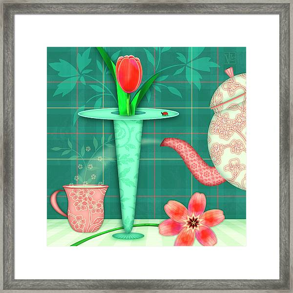 T Is For Two Tulips With Tea Framed Print
