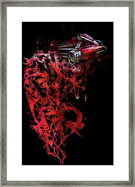 Framed Print featuring the photograph T Shirt Deconstruct Red Cadillac by Glenda Wright