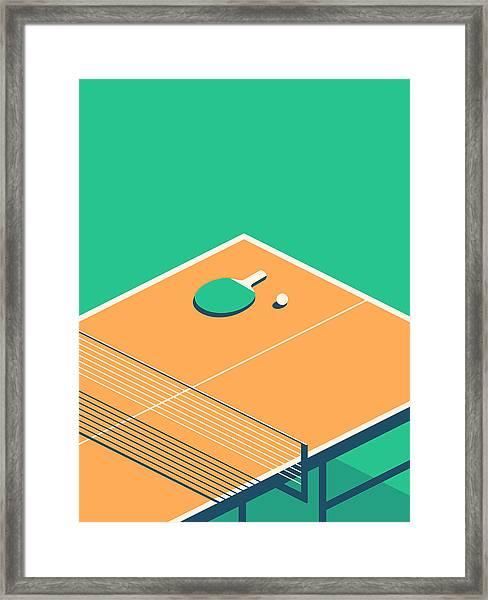Table Tennis Table Isometric - Green Framed Print by Ivan Krpan