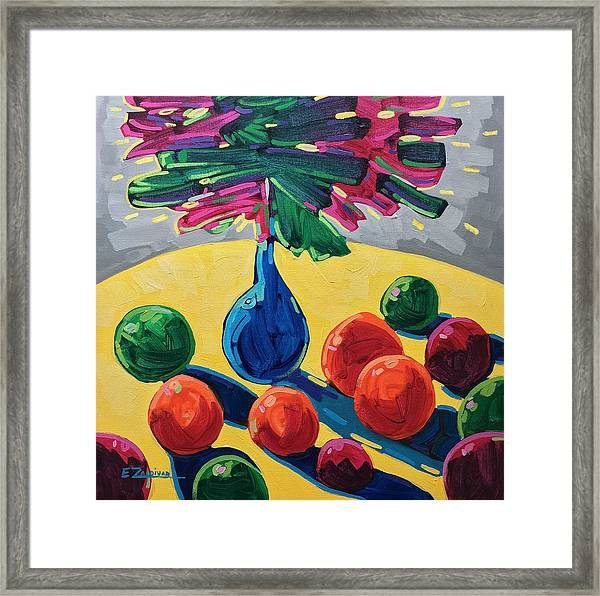 Table With Fruits And Flowers Framed Print