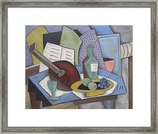 Table With Mandolin Framed Print