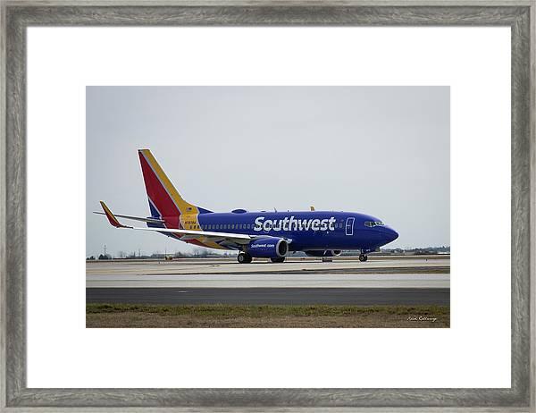 Take Off Southwest Airlines N7878a Hartsfield-jackson Atlanta International Airport Art Framed Print