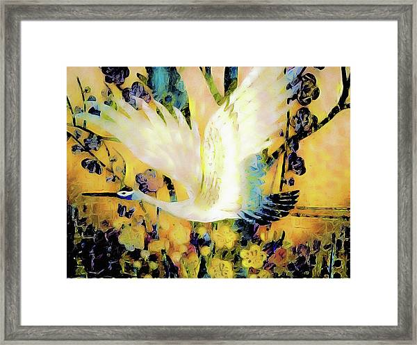 Taking Wing Above The Garden - Kimono Series Framed Print