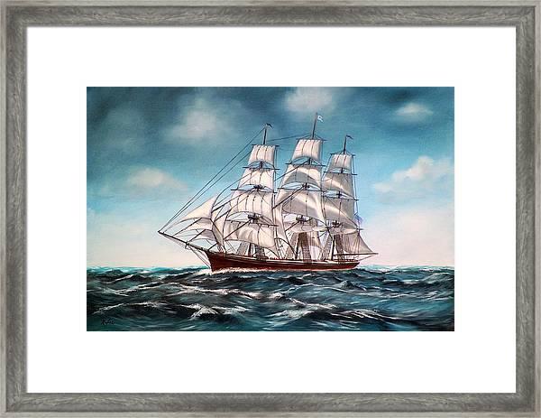 Tall Ship At Sea Framed Print