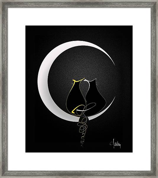Framed Print featuring the mixed media Talleycats - Moonglow by Larry Talley