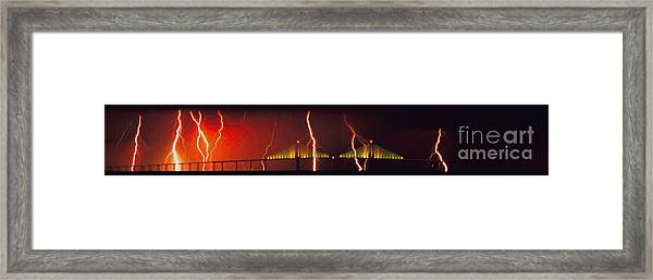 Tampa Bay Lightning Over The Skyway Bridge Framed Print