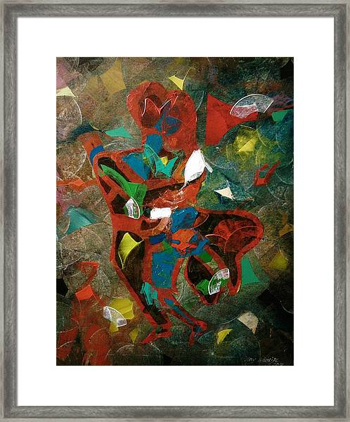 Framed Print featuring the painting Tango With A Twist by Ray Khalife
