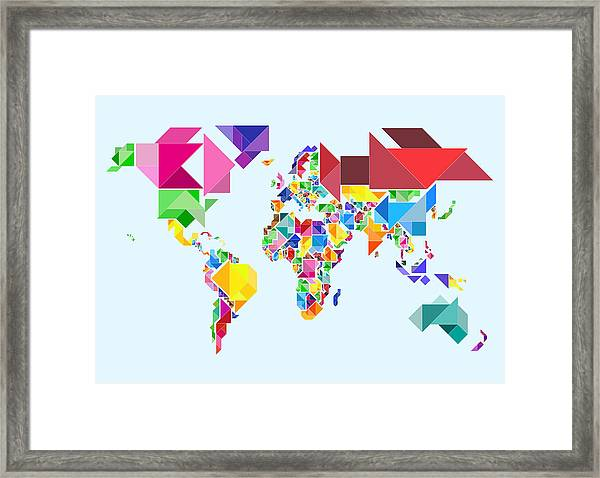 Tangram Abstract World Map Framed Print