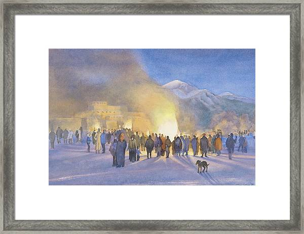 Taos Pueblo On Christmas Eve Framed Print by Jane Grover