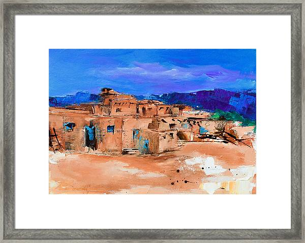 Framed Print featuring the painting Taos Pueblo Village by Elise Palmigiani