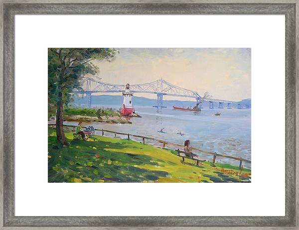 Tappan Zee Bridge And Light House Framed Print