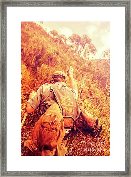 Tasmania Search And Rescue Ses Volunteer  Framed Print