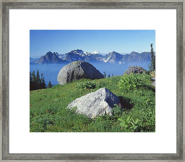 1m4862-tatoosh Range And Mt. St. Helens  Framed Print