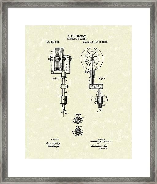 Tattoo Machine 1891 Patent Art Framed Print