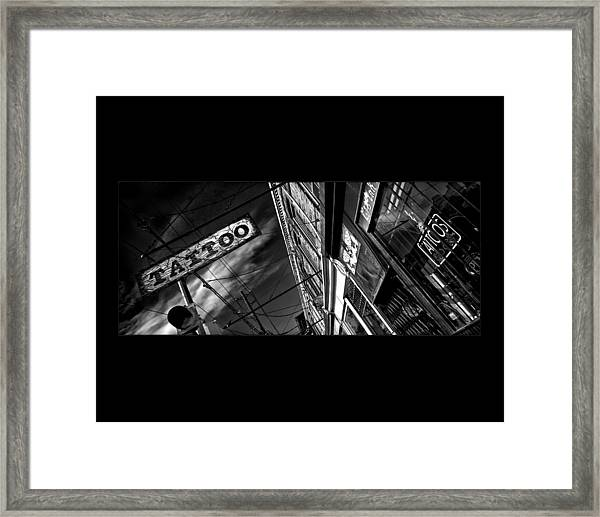 Tattoo Parlour On Black Framed Print