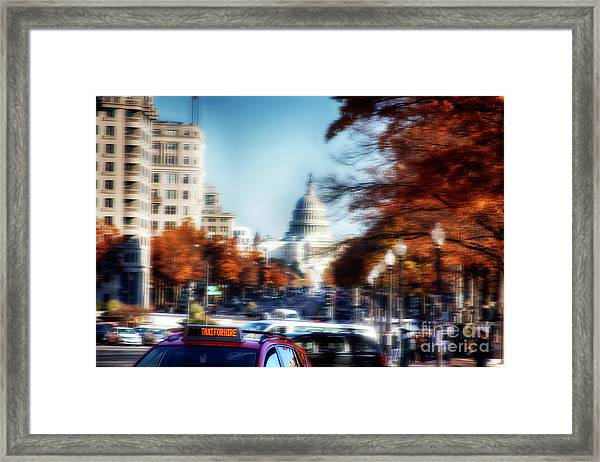 Taxi For Hire  Framed Print by Steven Digman