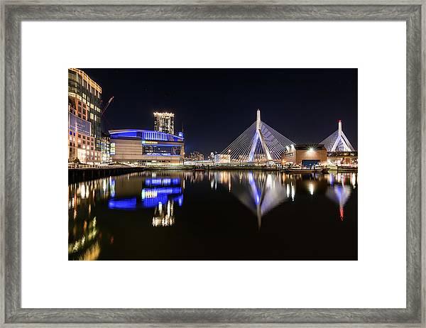 Td Garden And The Zakim Bridge At Night Framed Print