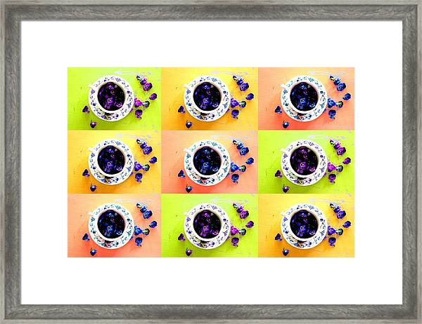 Tea Cups And Violets Framed Print