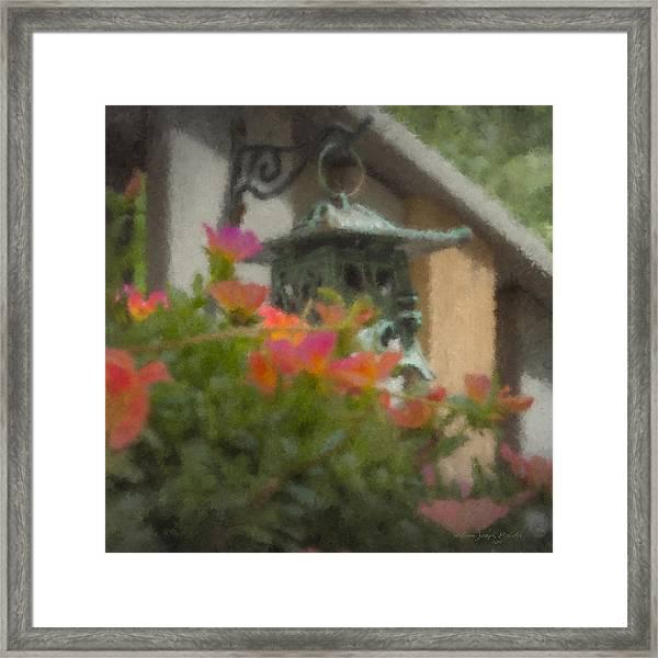 Tea Lantern And Portulaca Framed Print