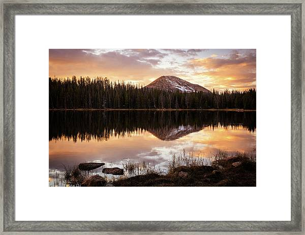 Tea Pot Lake Sunset Framed Print
