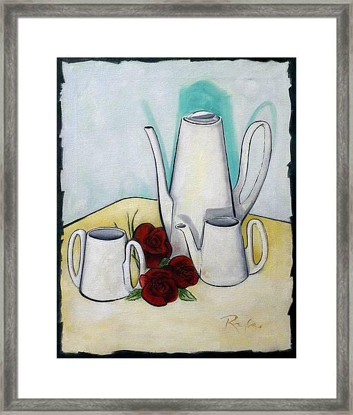 Tea Set And Roses Framed Print