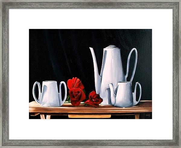 Tea Set With  Roses Framed Print