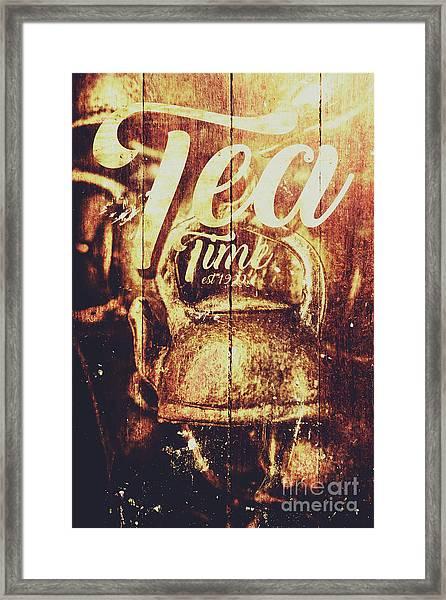 Tea Time Tin Sign Framed Print
