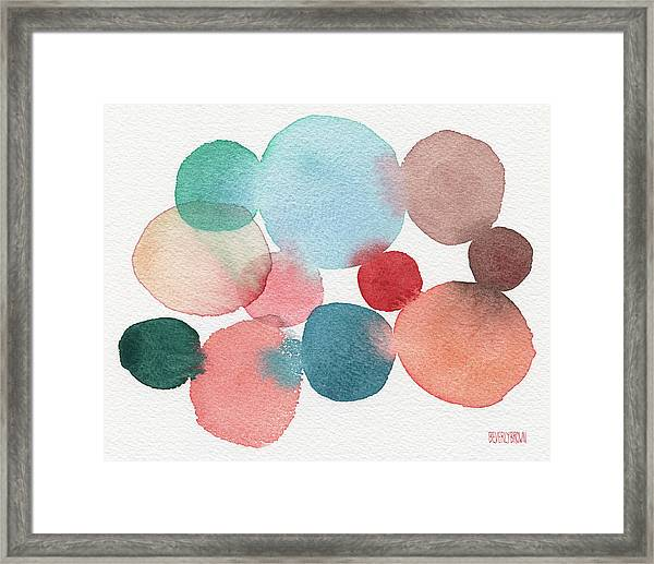 Teal And Coral Abstract Watercolor  Framed Print