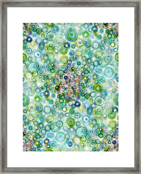 Teal And Olive Concavity Framed Print