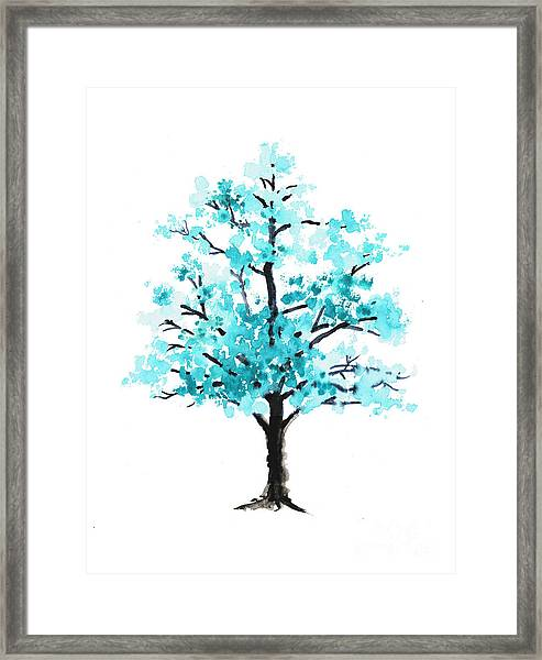 Teal Cherry Blossom Tree Watercolor Art Print Framed Print