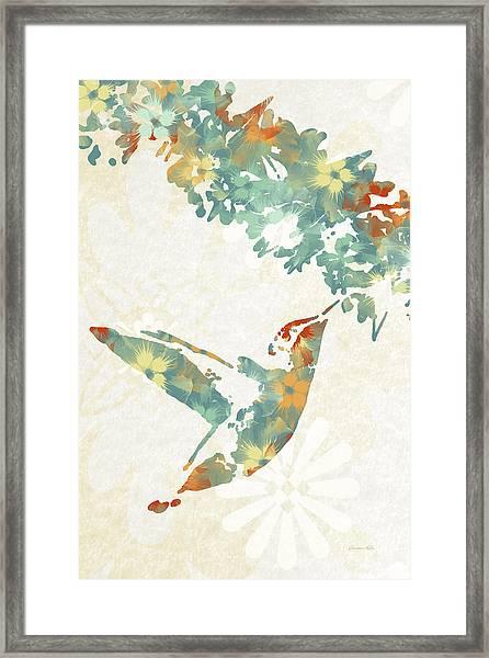 Floral Hummingbird Art Framed Print