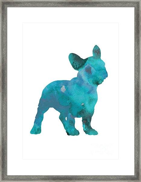 Teal Frenchie Abstract Painting Framed Print
