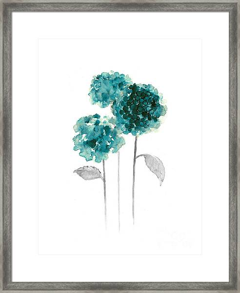 Teal Hydrangea Fine Art Print Framed Print