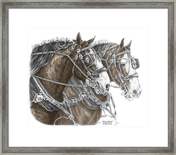 Team Work - Clydesdale Draft Horse Print Color Tinted Framed Print