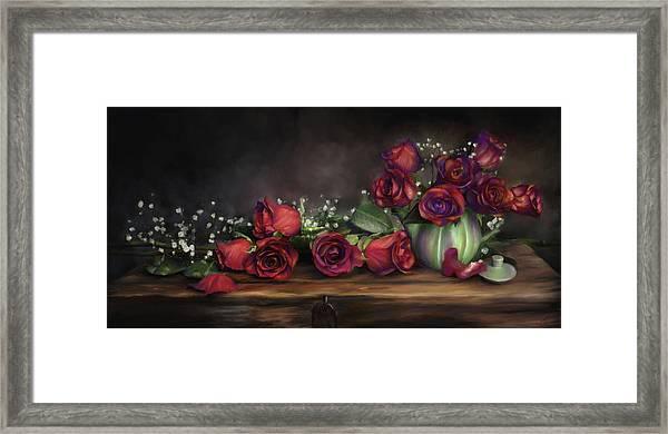 Teapot Roses Framed Print