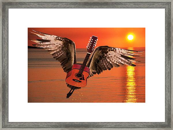Framed Print featuring the digital art Teardrops On My Guitar Rocks by Eric Kempson